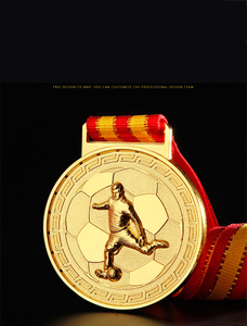 RU81118 Custom Gold Plating Football Promotion Award Medal with Ribbon