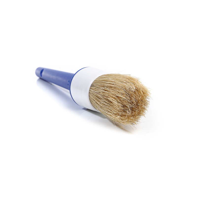 Natural Bristle Round Paint Brush with Plastic Handle
