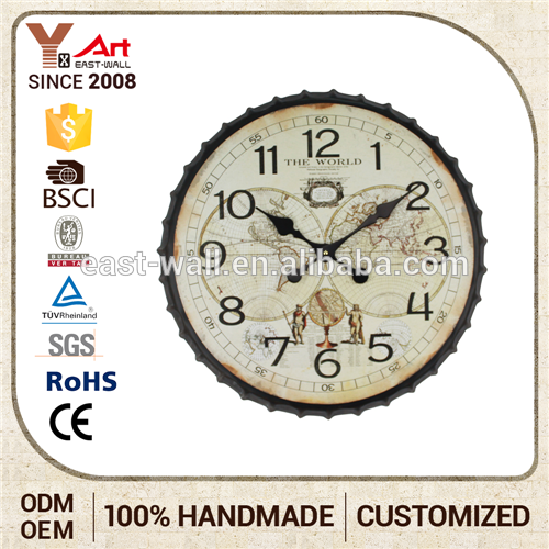 Custom Design Large Number Wall Clock Sweet Home Decoration Bottle Cap Clock