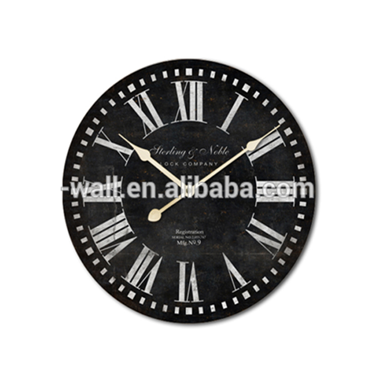Unique Large Wall Clocks Vintage Style Black Design Bright Wall Clock