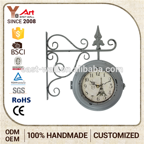 Handmade Bedroom Furniture Creative Items Double Sides Iron Wall Clock