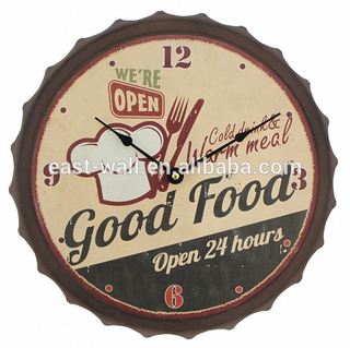 33CM Vintage Rustic COOK Theme Beer Cap Decor Clock