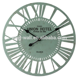 Water Blue Painted Iron Metal Quartz Wall Clock Roman Numerals
