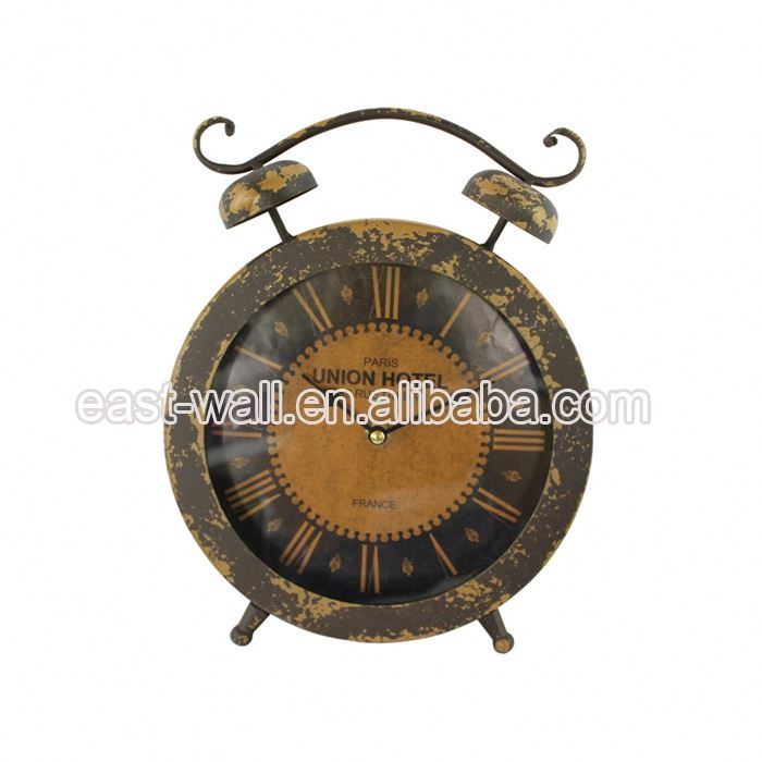 Promotion Good Quality Custom Printing Antique Iron Table Clock