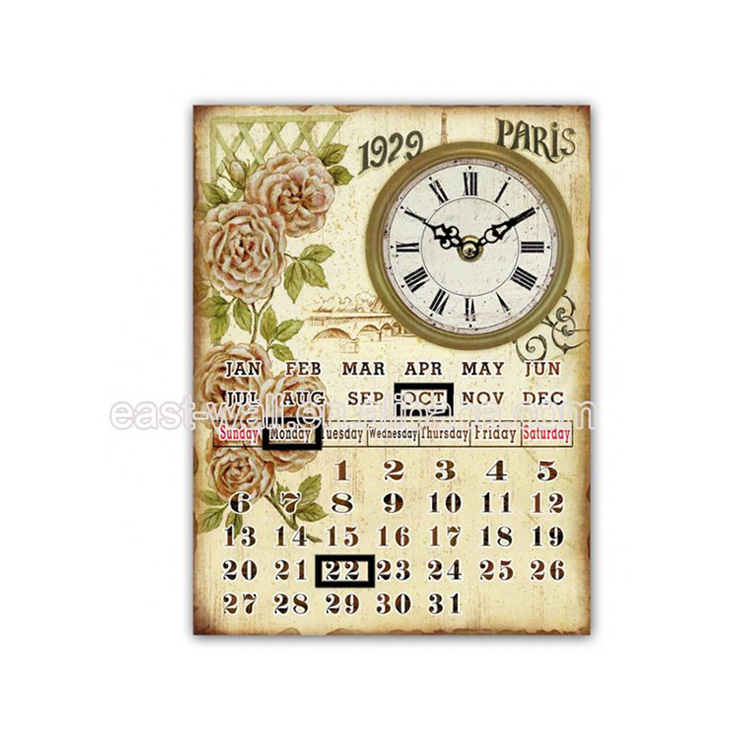 Sales Promotion Exceptional Quality Custom Wall Calendar Vintage Decorative Metal Plate Wall Plaque
