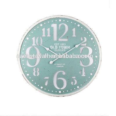 Durable Home Decoration Digital Wall Clock, Blue Round Wall Clock