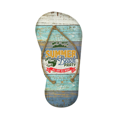 New Product Vintage Flip Flop Home Decoration Shabby Chic Beautiful Wall Hanging Picture Custom Wood Plaque