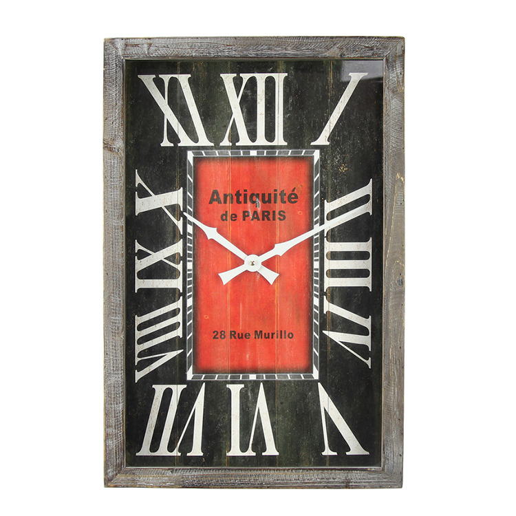 EA6090 New Arrive Wholesale Custom Real Wood Rustic Antique Wall Clock