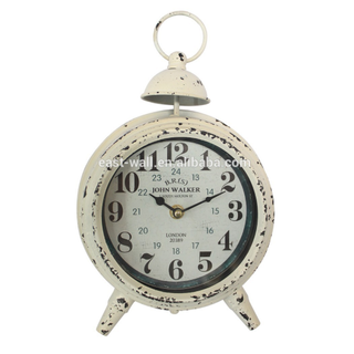 Vintage French Style White Iron Metal Table Clock with Alarm