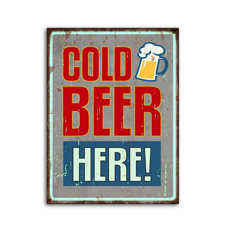 New Design Custom Colorful Modern Cold beer Here Wall Handing
