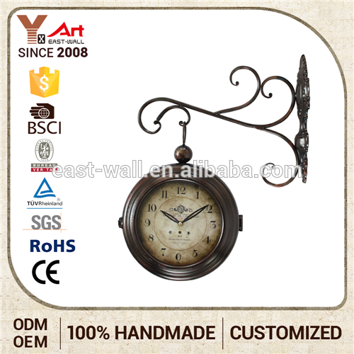 Art Work Craft Decoration Antique Furniture Double Sides Iron Wall Clock