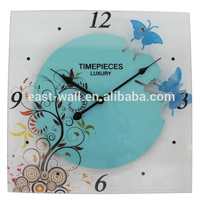 Luxury Glass Decorative Wall Clock Light Blue
