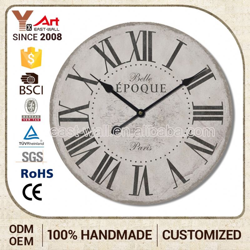 Oem Production Decorative Antique MDF Parts Wall Clock