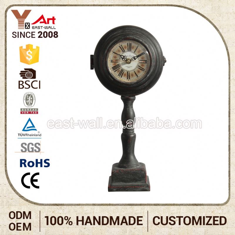 Wholesale Customized Color High Feet Clocks Antique Black Table Clock