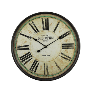 Factory Outlet Wholesale Vintage Custom Logo Glass Surface Rust Colored Classic Wall Clock