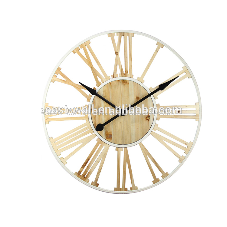 Custom Made Logo Wholesale Retro Style Wooden Frame Round Wall Clock