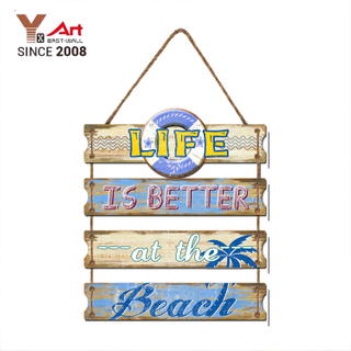 2018 New Arrival Creative Retro Wooden Beach Shop Cafe Wall Hanging Decoration Sign