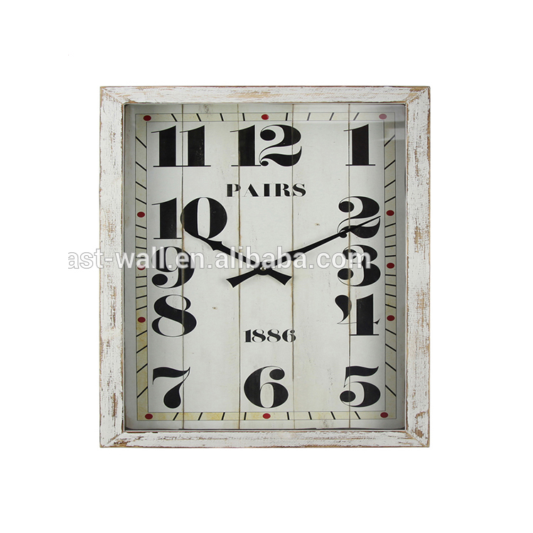 Classic Living-room Decorative Large Square Vintage Wood Wall Clock