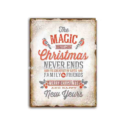 Vintage Magic Christmas And New Year Decoration Iron Wooden Wall Plaque