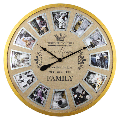 Selling With Photo Sublimation Yellow Wall Clock Wood Modern