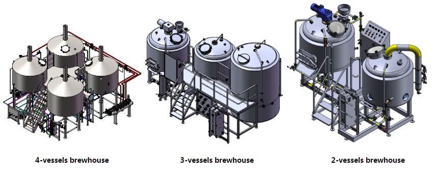 2/3/4 vessels beer brewhouse
