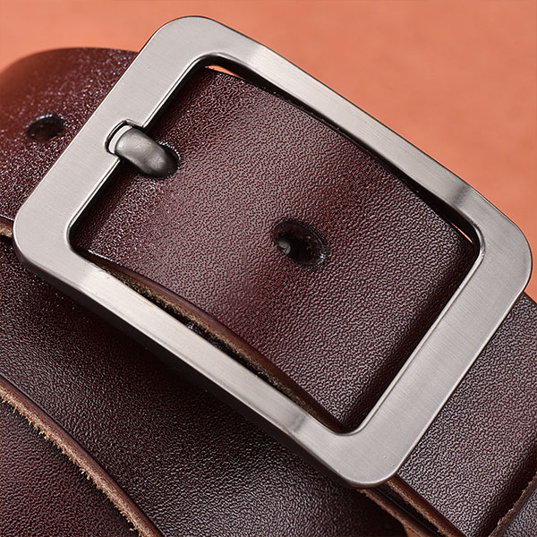 Men's leather pin buckle belt