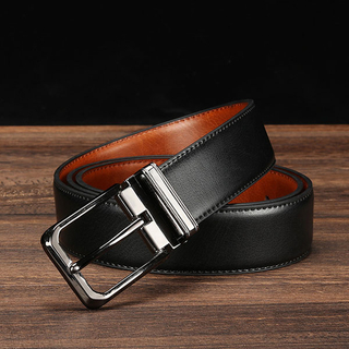 Men's double-sided leather pin buckle belt